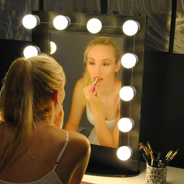 LED Vanity Mirror Lights Homeasy LED Make Up Lights Hollywood USB Mirror Lights Brightness Adjustable with 10 Bulbs 3 Light Color Modes for Make Up Mirror Dressing Table (Not Include Mirror)