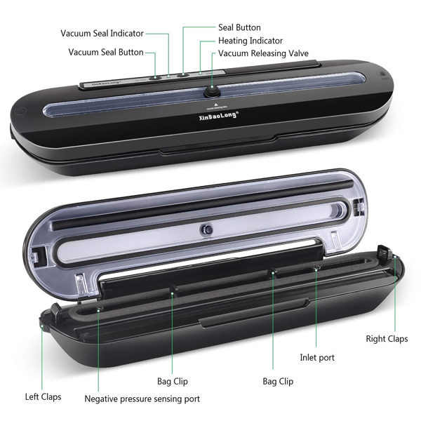 Homeasy Vacuum Sealer, Automatic Food Sealer Machine One-Touch Sealing/Vacuum for Dry and Moist Food Fresh Preservation