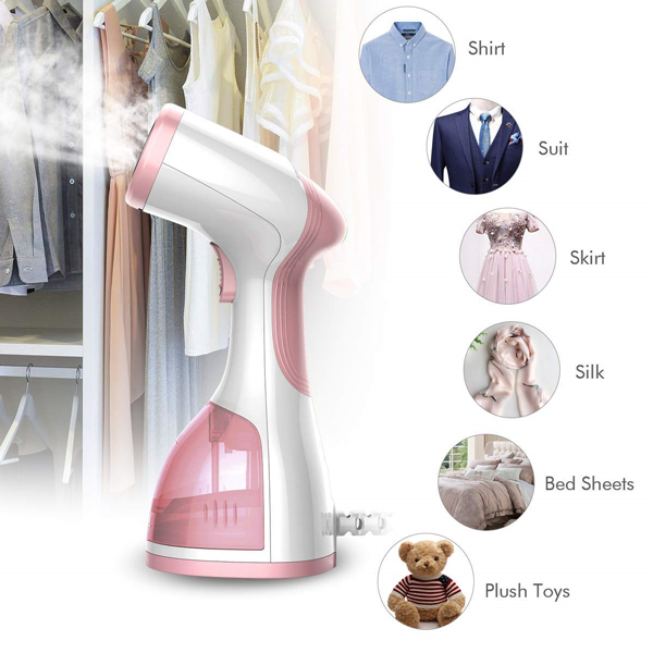 homeasy Clothes Garment 5 in 1 Handheld Fabric Steamer Wrinkle Remover with Fast Heat-up Function for Home and Travel [Satisfaction Guarantee], Pink, Small