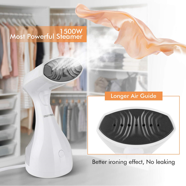 homeasy Clothes Steamer, 1500W Handheld Portable Garment Steamer for Home and Travel Fabric Steamer Wrinkle Remover 25s Fast Heat-up, 280ml White, Small (Updated Version)